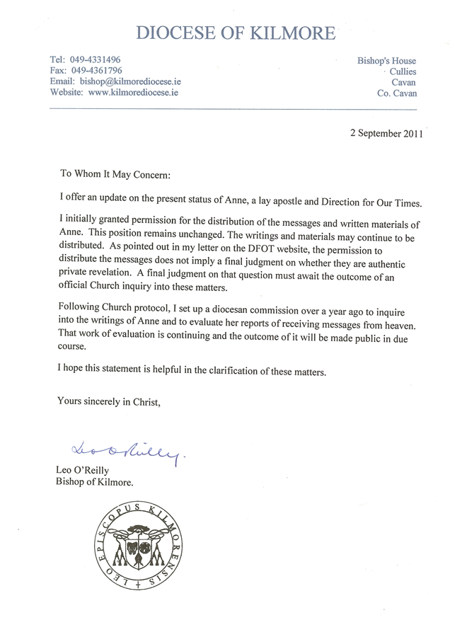 Letter from Bishop 2011