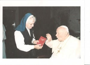 Blessed Pope John Paul II receives Volume Two from Sr. Pius